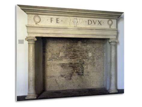 Fireplace, Detail from Throne Room, Ducal Palace, Urbino--Metal Print