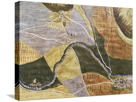 Map of Domremy-La-Pucelle Area in France, Birthplace of Joan of Arc--Stretched Canvas Print