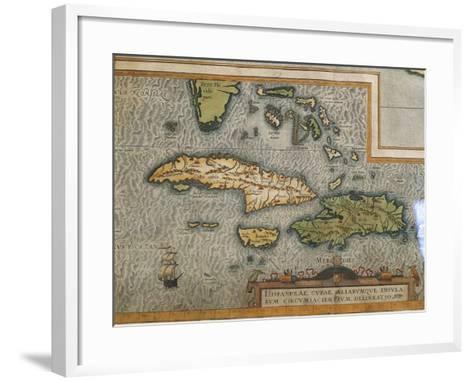 Map of Antilles Islands--Framed Art Print