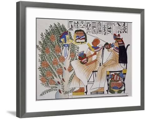 Goddess Nepte Leaving Mystical Tree to Give Drink to Deceased, Copy of Theban Fresco--Framed Art Print