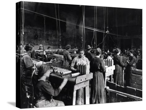 Women Polishing Shells in the Gillet Arms Factory in Lyon, 2nd July 1917--Stretched Canvas Print