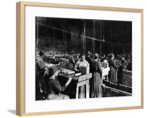 Women Polishing Shells in the Gillet Arms Factory in Lyon, 2nd July 1917--Framed Art Print