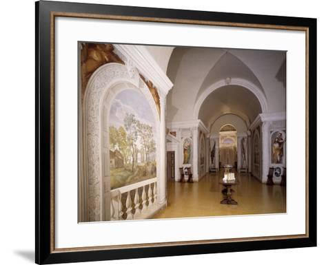 Glimpse of Cruciform Hall with Frescoes--Framed Art Print