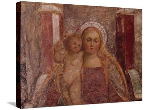 Enthroned Madonna and Child from Basilica of San Giulio, Island of San Giulio, Orta San Giulio--Stretched Canvas Print
