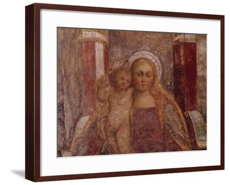 Enthroned Madonna and Child from Basilica of San Giulio, Island of San Giulio, Orta San Giulio--Framed Art Print