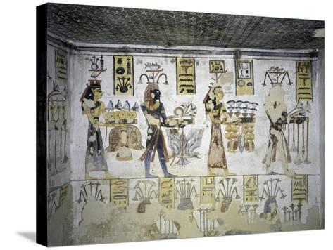 Egypt, Thebes, Luxor, Valley of the Kings, Tomb of Ramses III, Mural Painting of Ritual Offerings--Stretched Canvas Print