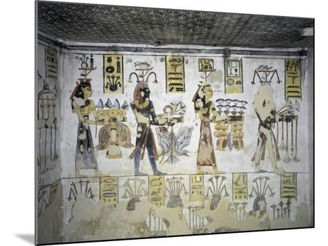Egypt, Thebes, Luxor, Valley of the Kings, Tomb of Ramses III, Mural Painting of Ritual Offerings--Mounted Giclee Print
