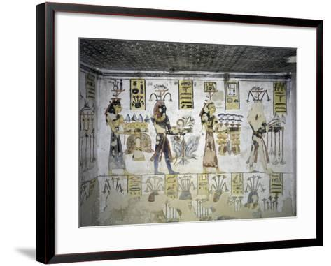 Egypt, Thebes, Luxor, Valley of the Kings, Tomb of Ramses III, Mural Painting of Ritual Offerings--Framed Art Print