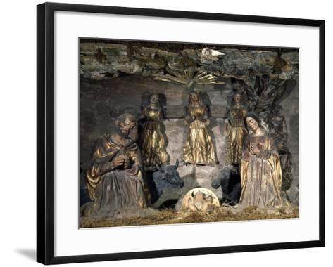 Nativity, 16th Century, Nativity Scene with Polychrome Terracotta Figurines by Potters from Abruzzi--Framed Art Print