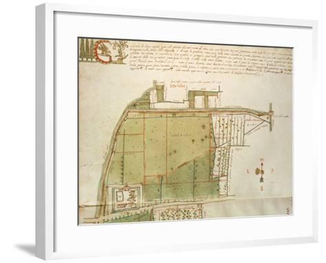 Map of Country Estates in the Town of Castelnuovo Di Sotto, Reggio Emilia--Framed Art Print