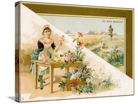 The Young Florist, Bon Marché Promotional Card, C.1900--Stretched Canvas Print