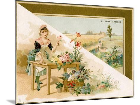 The Young Florist, Bon Marché Promotional Card, C.1900--Mounted Giclee Print