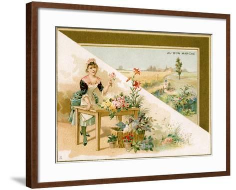 The Young Florist, Bon Marché Promotional Card, C.1900--Framed Art Print
