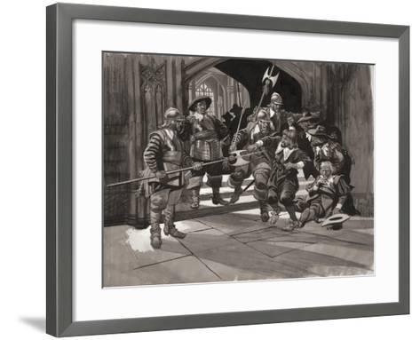 Colonel Pride Refusing Entrance of Certain Members of the House of Commons--Framed Art Print