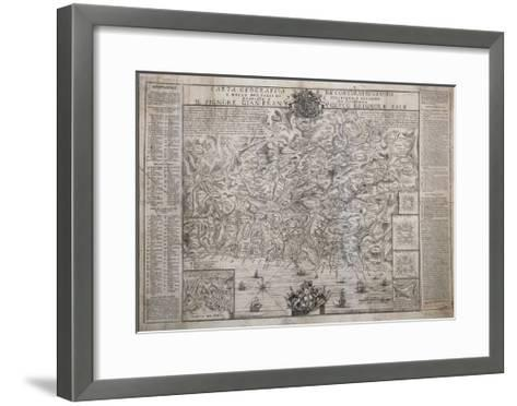 The Surroundings of Genoa, with Polcevera and Bisagno Valleys, Map--Framed Art Print