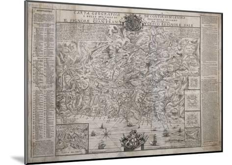 The Surroundings of Genoa, with Polcevera and Bisagno Valleys, Map--Mounted Giclee Print