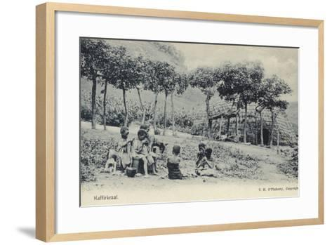 African Children Eating Bread--Framed Art Print