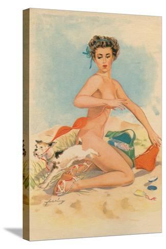 Bikini Mishap--Stretched Canvas Print