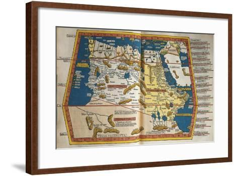 Africa and Unknown Southern Land, from Claudius Ptolemy's Cosmographia--Framed Art Print