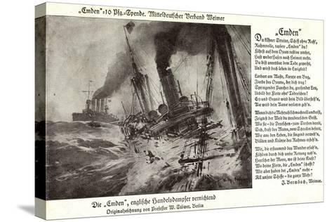 Kriegsschiff Emden Versenkt Engl. Handelsdampfer--Stretched Canvas Print