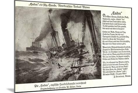 Kriegsschiff Emden Versenkt Engl. Handelsdampfer--Mounted Giclee Print
