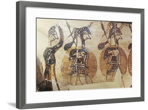 Ceramics, Krater known as 'Warrior Vase', Detail, Armed Soldiers--Framed Art Print