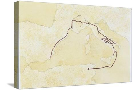 Map of the Western Mediterranean Area--Stretched Canvas Print