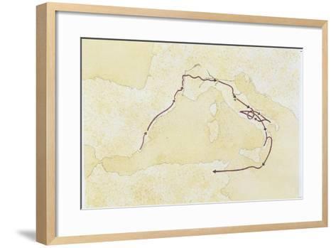 Map of the Western Mediterranean Area--Framed Art Print