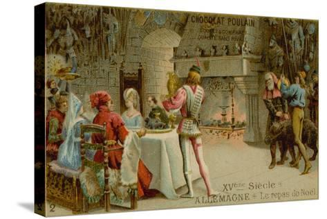 Christmas Dinner in 15th Century Germany--Stretched Canvas Print