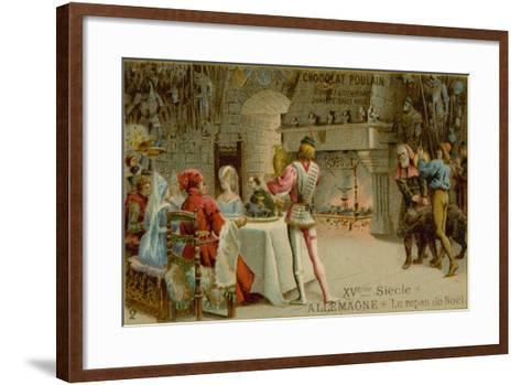 Christmas Dinner in 15th Century Germany--Framed Art Print