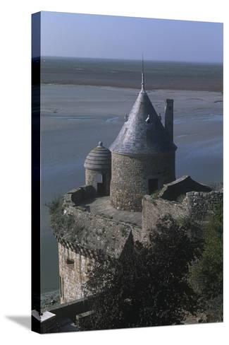 France, Normandy, Ramparts of Le Mont-Saint-Michel--Stretched Canvas Print