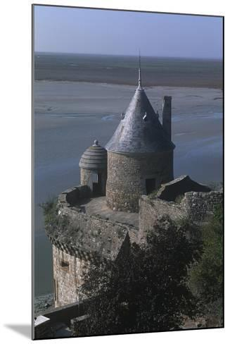 France, Normandy, Ramparts of Le Mont-Saint-Michel--Mounted Giclee Print