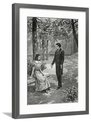 Victor Hugo Declaring His Love to Adèle Foucher, 19th Century--Framed Art Print