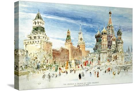 Russia, Moscow, Red Square with Kremlin Wall and Saint Basil's Cathedral--Stretched Canvas Print