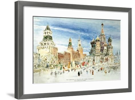 Russia, Moscow, Red Square with Kremlin Wall and Saint Basil's Cathedral--Framed Art Print