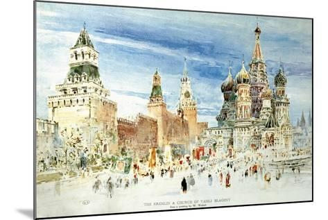 Russia, Moscow, Red Square with Kremlin Wall and Saint Basil's Cathedral--Mounted Giclee Print