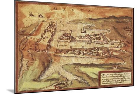 Map of the Island of Malta, from Civitates Orbis Terrarum--Mounted Giclee Print