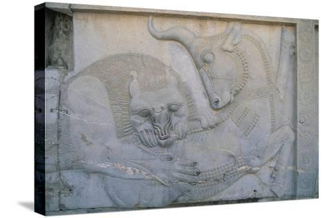 Iran, Persepolis, Apadana Palace, Bas-Relief with an Animal Fight, Close-Up--Stretched Canvas Print