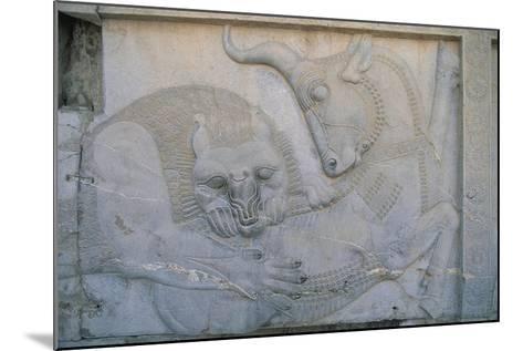 Iran, Persepolis, Apadana Palace, Bas-Relief with an Animal Fight, Close-Up--Mounted Giclee Print