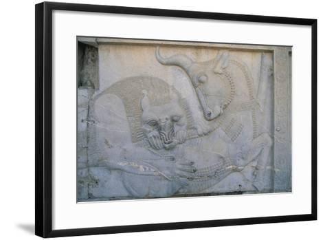 Iran, Persepolis, Apadana Palace, Bas-Relief with an Animal Fight, Close-Up--Framed Art Print