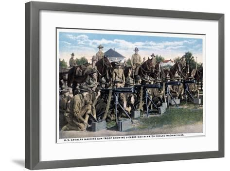 U. S. Cavalry Machine Gun Troop Showing Vickers-Maxim Watch Cooled Machine Guns, 1916--Framed Art Print