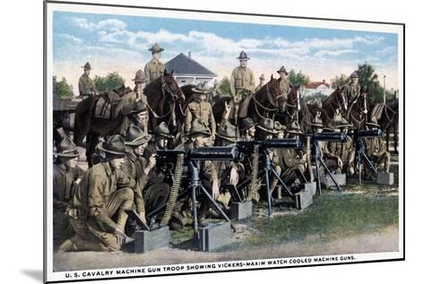 U. S. Cavalry Machine Gun Troop Showing Vickers-Maxim Watch Cooled Machine Guns, 1916--Mounted Giclee Print