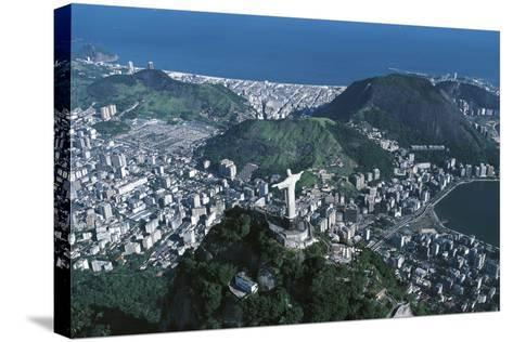View of the City, Corcovado and Statue of Christ the Redeemer--Stretched Canvas Print