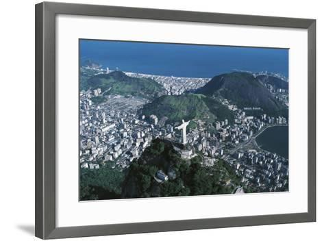 View of the City, Corcovado and Statue of Christ the Redeemer--Framed Art Print