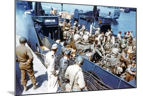 Soldiers of the 1st Infantry Division of the US Army Have Boarded the Landing Craft Transport--Mounted Photographic Print