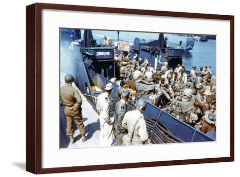 Soldiers of the 1st Infantry Division of the US Army Have Boarded the Landing Craft Transport--Framed Art Print