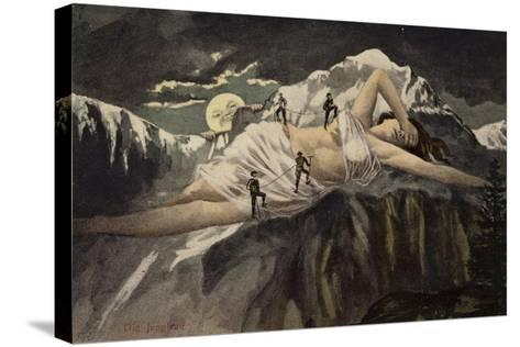A Naked Woman on a Mountainside Being Climbed by Mountaineers While the Moon Looks On--Stretched Canvas Print