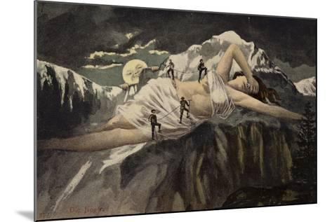 A Naked Woman on a Mountainside Being Climbed by Mountaineers While the Moon Looks On--Mounted Giclee Print