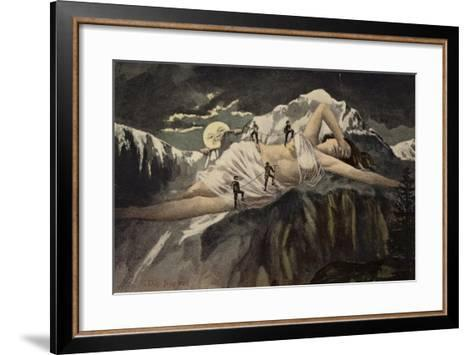 A Naked Woman on a Mountainside Being Climbed by Mountaineers While the Moon Looks On--Framed Art Print
