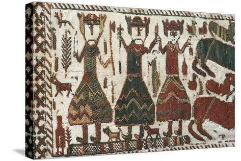 Detail from Skogchurch Tapestry Depicting Norse Gods Odin, Thor and Freyr, Sweden, 12th Century--Stretched Canvas Print